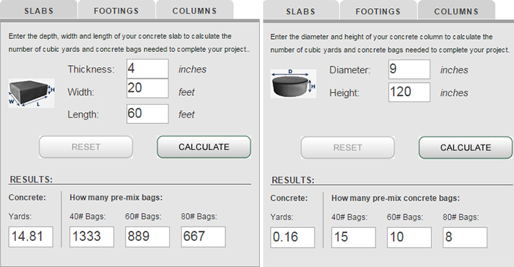 this concrete calculator free application help you