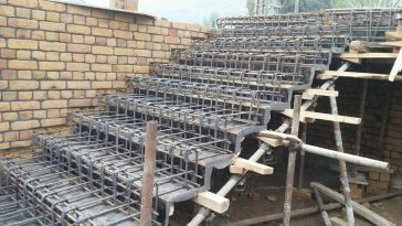 installation of steel reinforcement staircase