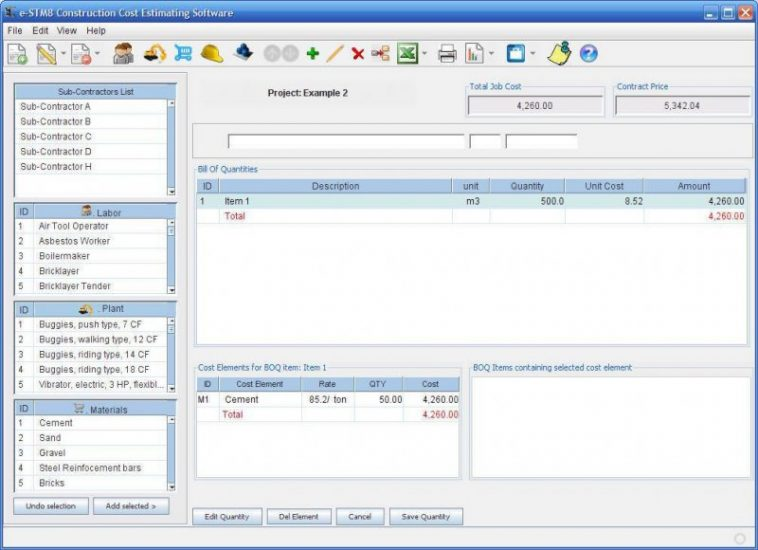 Construction Cost Estimating Free Software for Windows